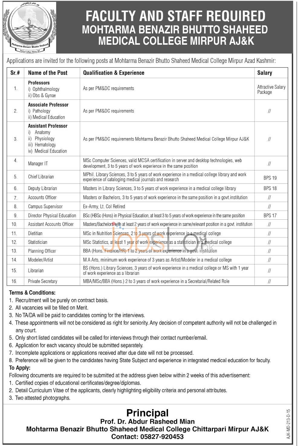 Benazir Bhutto Medical College Mirpur Jobs