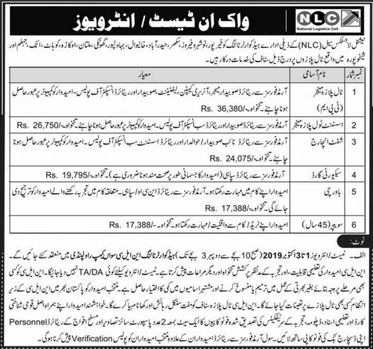 NLC Jobs 2019 National Logistic Cell Walk-In Interview Last Date & Venue
