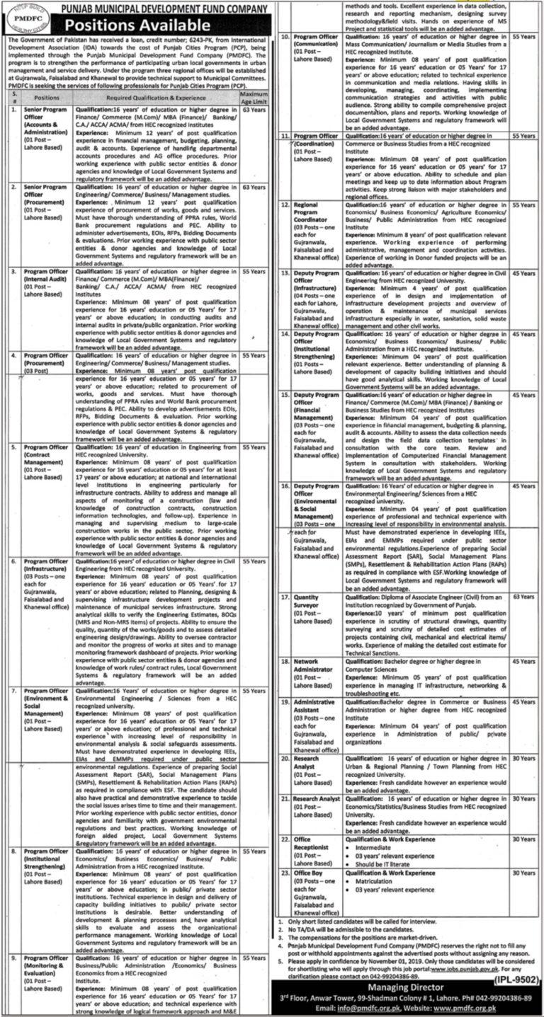 PMDFC Punjab Jobs 2019 Govt of Punjab Apply Online Latest Advertisement