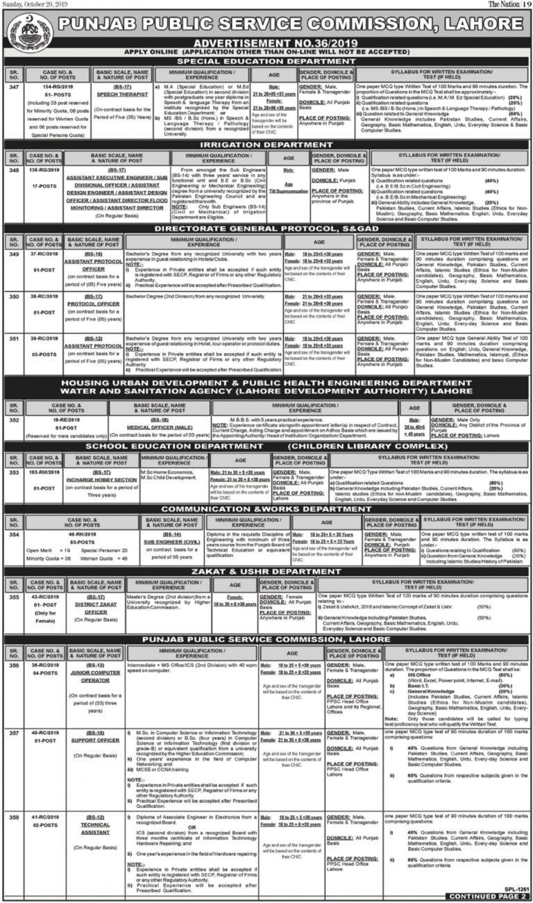 Punjab Public Service Commission PPSC Jobs 20 October 2019 Apply Online Latest Advertisement