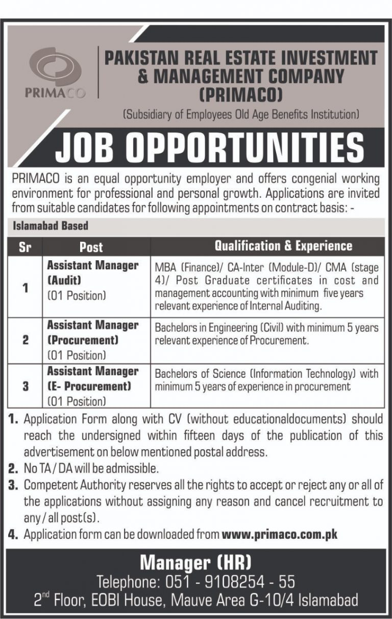 Pakistan Real Estate Management Company PRIMACO Islamabad Jobs 2019 Current Offers