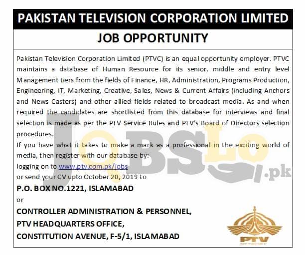 Pakistan Television Corporation Limited PTV Jobs 2019 Online Apply Latest | www.ptv.com.pk
