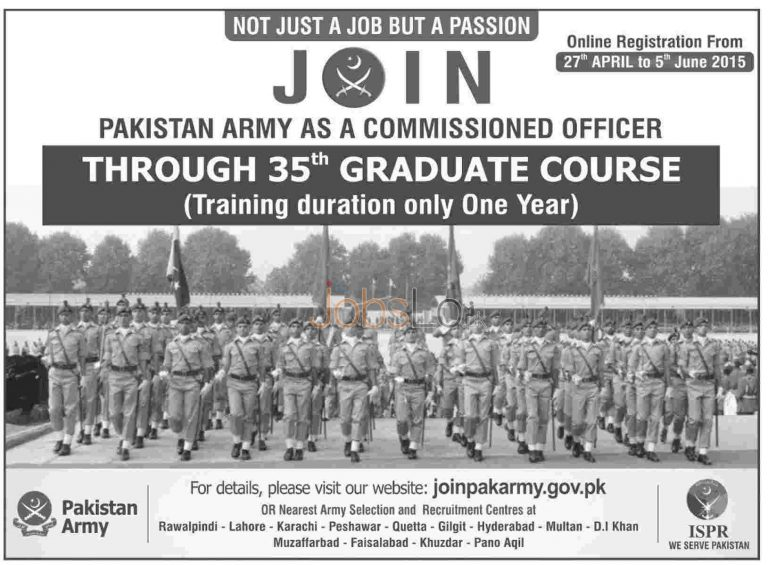 Join Pak Army as Commissioned Officer 2015 Through 35th Graduate Course