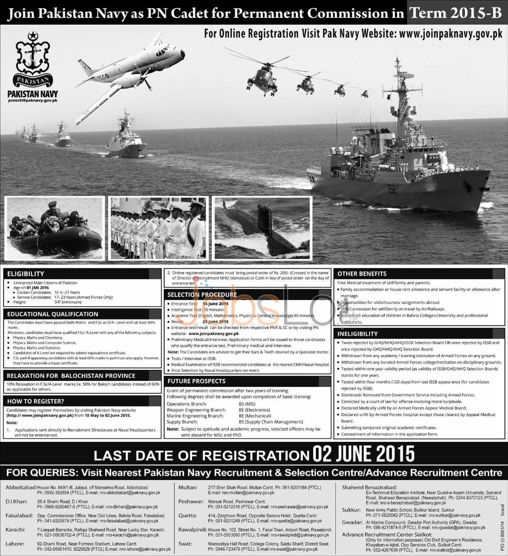 Join Pak Navy as PN Cadet 2015 B Through Permanent Commission Online Registration