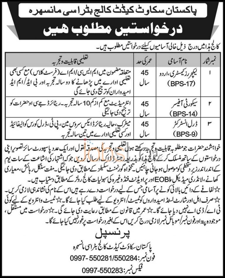 Pakistan Scouts Cadet College Batrasi Jobs for Lecturers & Drill Instructor 2015