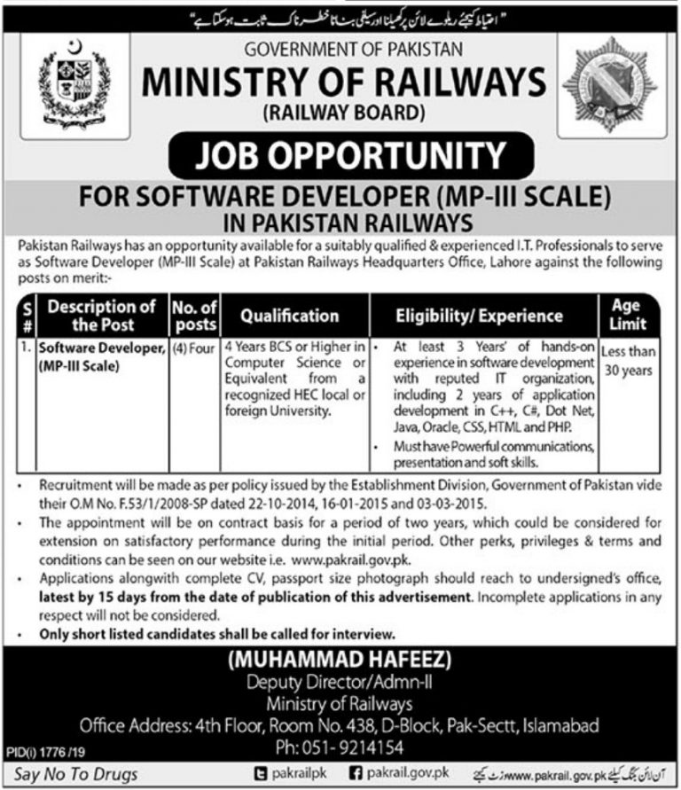 Ministry of Railways Jobs 2019 Islamabad Govt of Pakistan Latest Current Openings