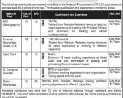 Pakistan Railway Jobs 2019 Mughalpura Lahore for Intermediate / Matric Pass Students