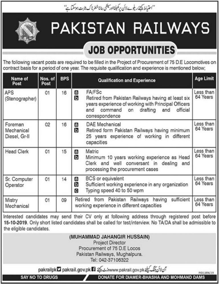 Pakistan Railway Jobs 2019 Mughalpura Lahore for Intermediate / Matric Pass Students