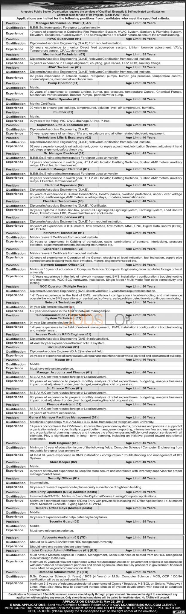 Jobs in Public Sector Organization Lahore Punjab Pakistan 2015