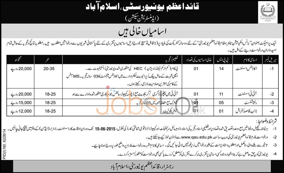 Quaid-e-Azam University Jobs