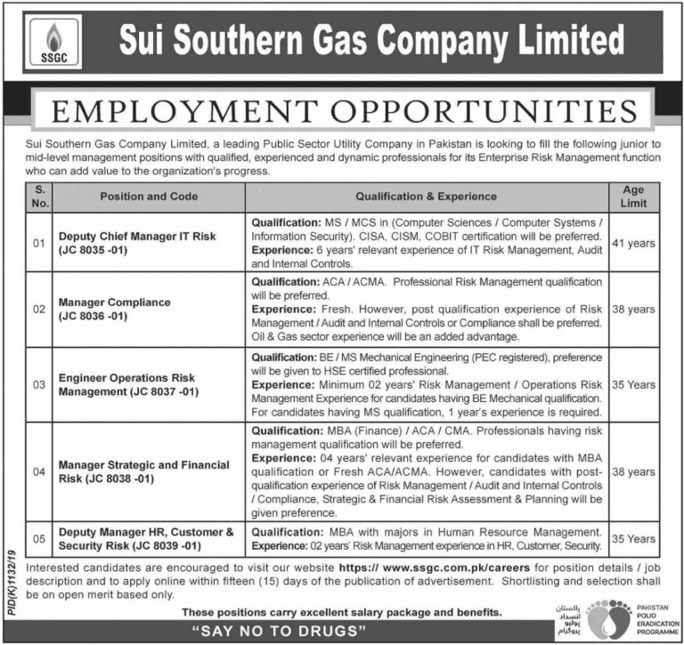 SSGC Jobs 2019 Sui Southern Gas Company Apply Online Latest Advertisement