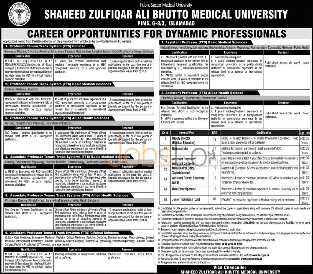SZABMU PIMS Islamabad Jobs