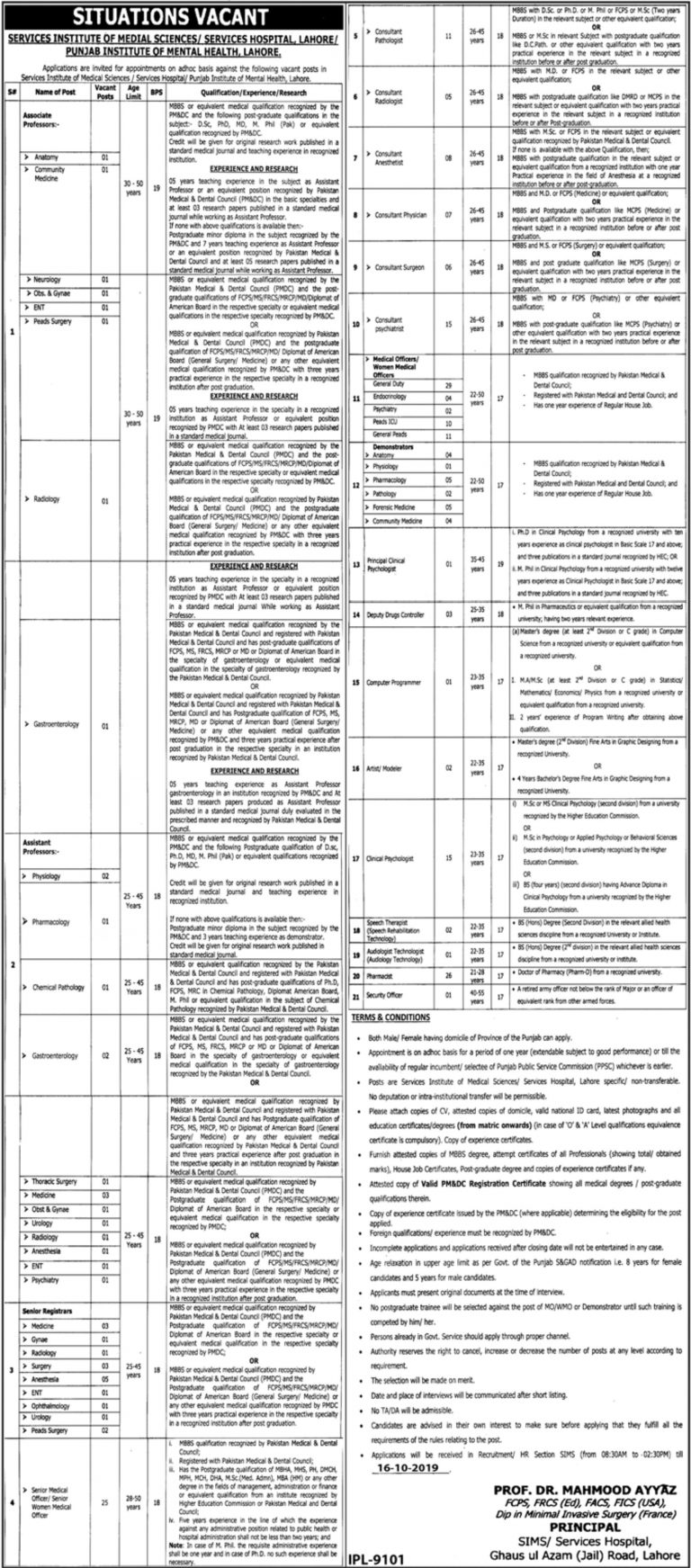 Services Hospital Lahore Jobs 2019 Latest Current Openings