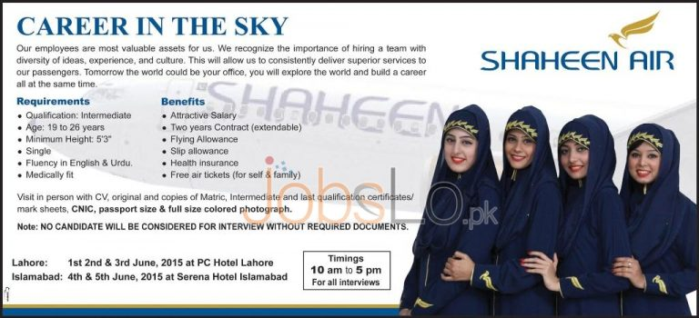 Shaheen Air Jobs Lahore & Islamabad 2015 Interview Schedule