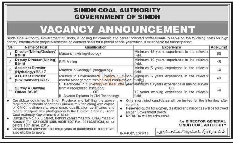 Jobs in Govt of Sindh Coal Authority Karachi 2015