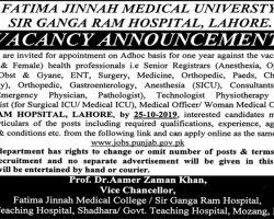 Sir Ganga Ram Hospital Lahore Jobs 2019 Latest Advertisement   www.jobs.punjab.gov.pk