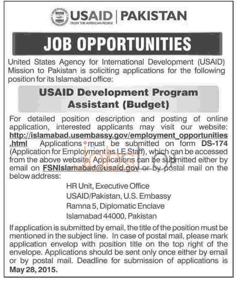 Job Opportunities in USAID Pakistan 2015 for Assistant Budget
