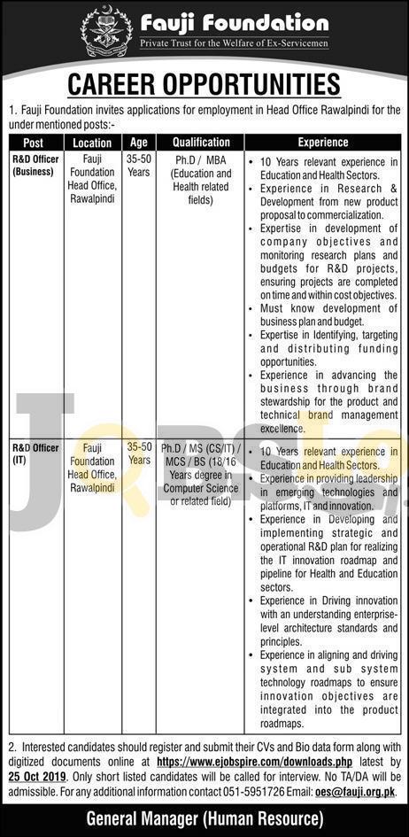 Fauji Foundation Jobs in Rawalpindi 2019 Application Form Download – www.fauji.org.pk