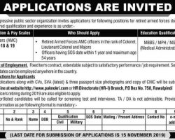 Pak Army Jobs 2019 Doctors (AMC) PO Box No. 758 Rawalpindi Latest Advertisement