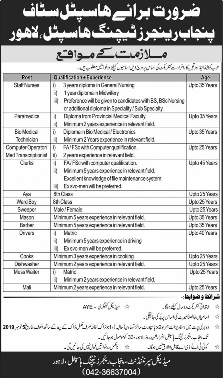 Punjab Rangers Teaching Hospital Lahore Jobs 2019 for Medical & Paramedical Staff  Latest