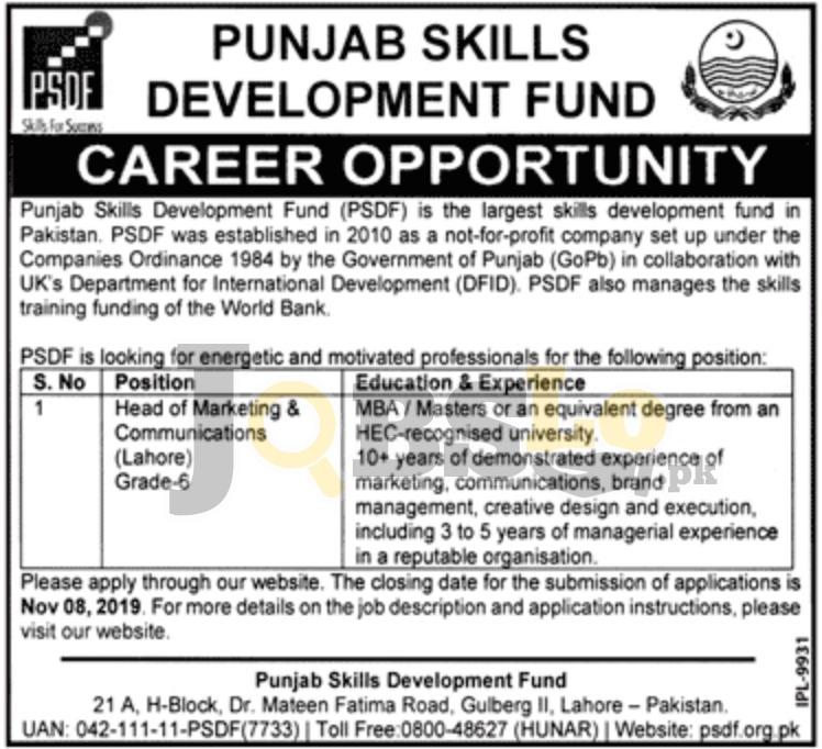 PSDF Jobs 2019 in Lahore Punjab Skills Development Fund Latest Advertisement