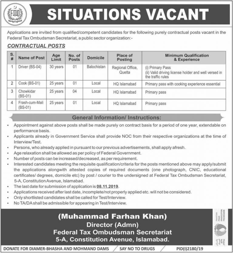 Federal Tax Ombudsman Secretariat FTO Jobs 2019 Govt of Pakistan Latest Vacancies