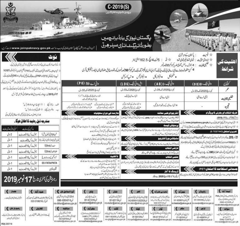 Join Pakistan Navy as Sailor (S) Batch C-2019 Yard Branch Online Registration Form | www.joinpaknavy.gov.pk