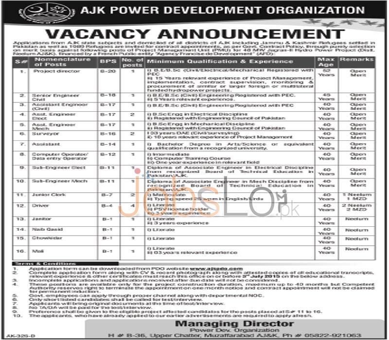 AJK Power Development Organization Jobs