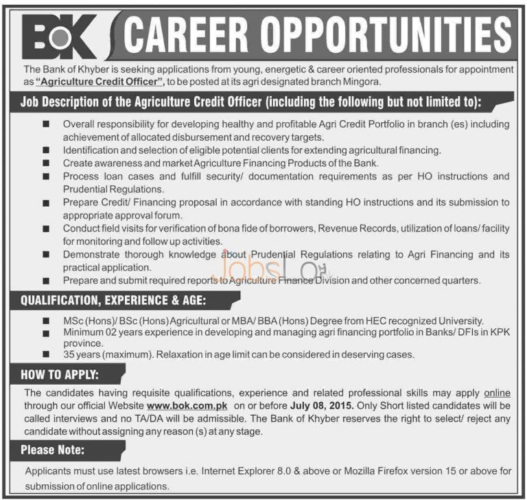 Agriculture Credit Officer Jobs in Bank of Khyber 2015