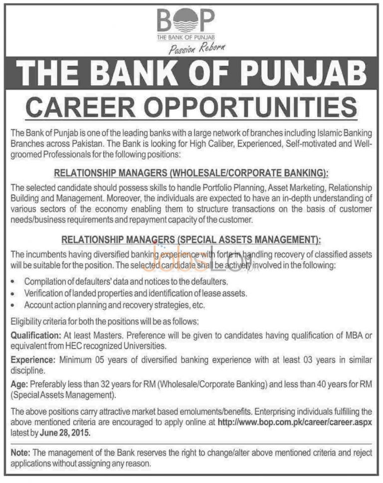 Bank of Punjab BOP Jobs 2015 for Relationship Managers Apply Online