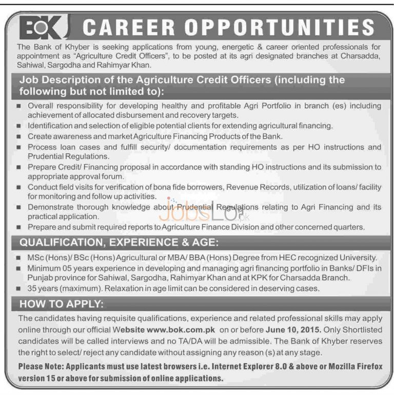Bank of Khyber Jobs for Agriculture Credit Officers 2015 Apply Online