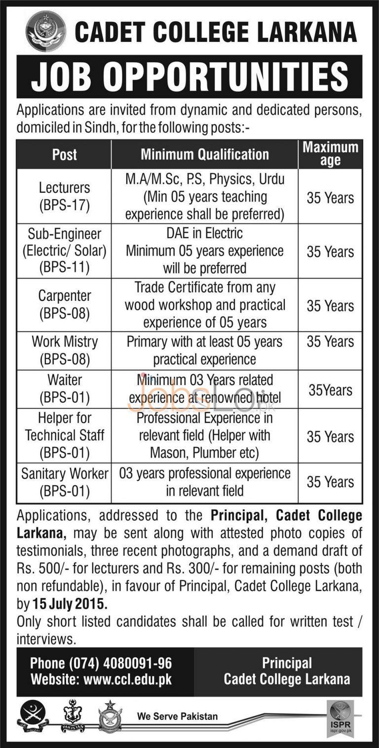 Cadet College Larkana Jobs 2015 Teaching & Non Teaching Staff