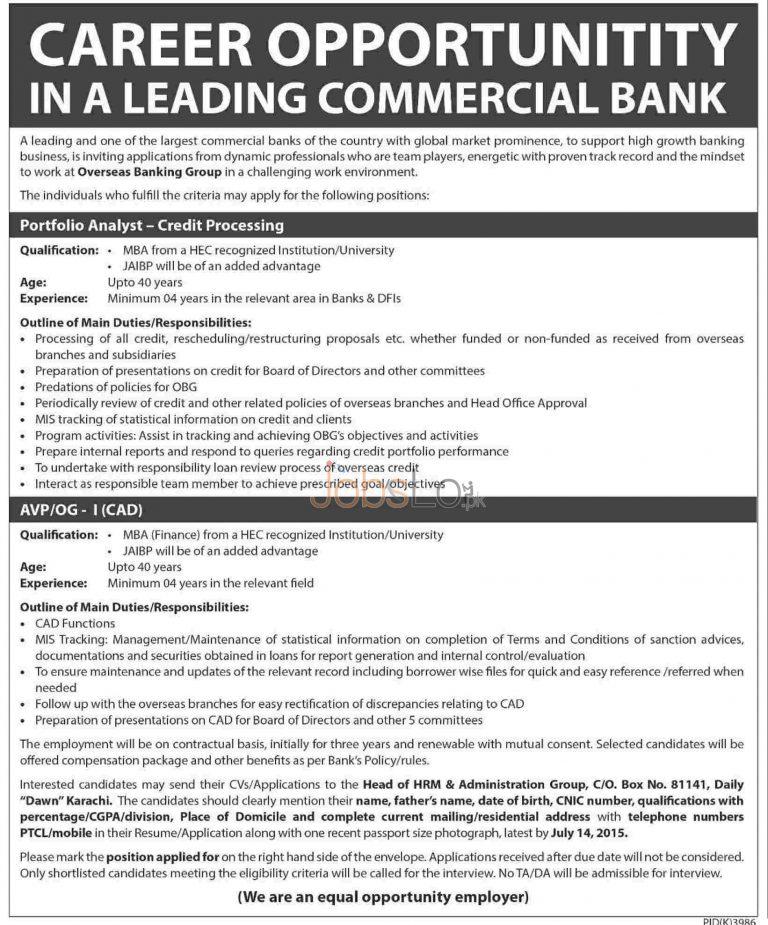 Commercial Bank Jobs 2015 June 15 Latest Advertisement