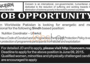 Concern Worldwide Jobs in Pakistan Sindh 2015 Apply Online