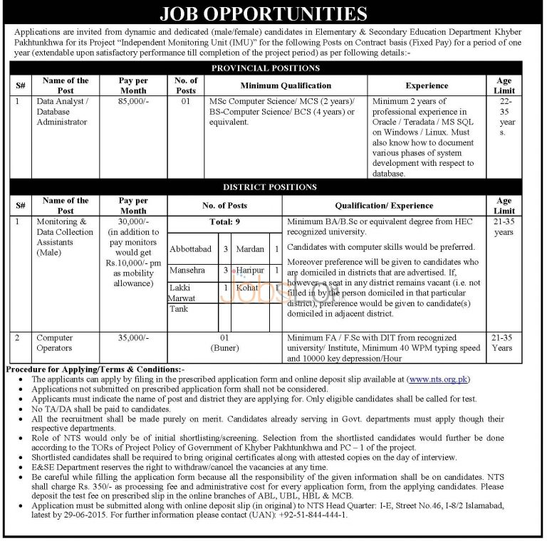 KPK Elementary & Secondary Education Jobs NTS Form 2015