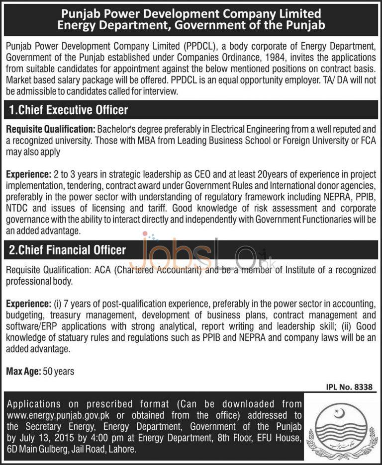 Energy Department Punjab Govt Jobs 2015 CEO & CFO