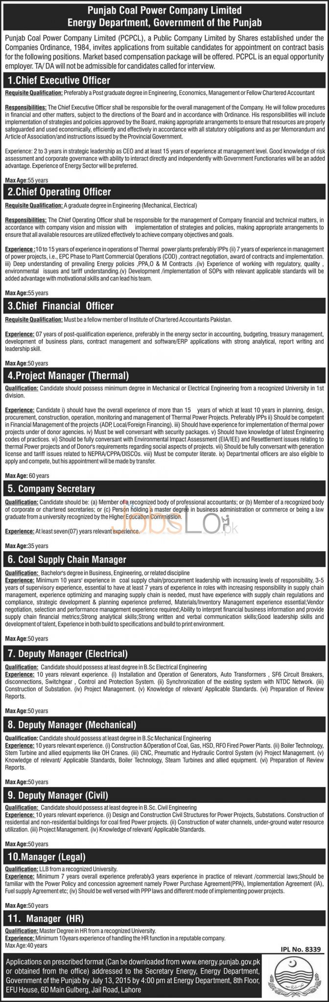 Energy Department Punjab Lahore Jobs 2015 Application Form