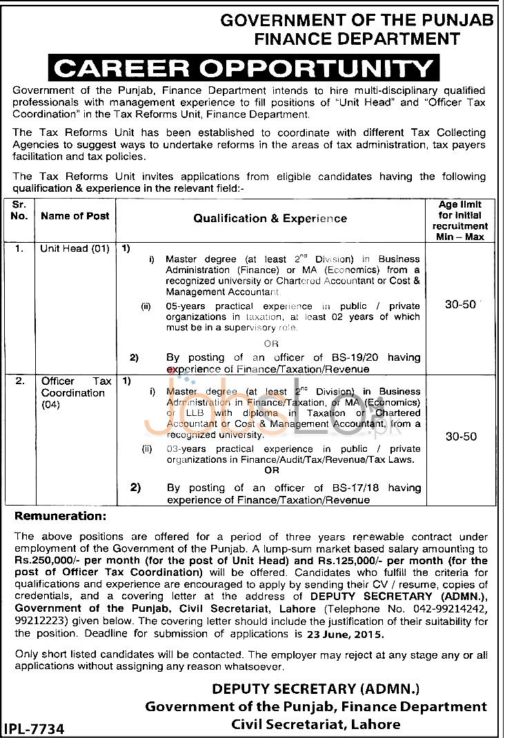 Finance Department Punjab Government Jobs 2015 in Lahore
