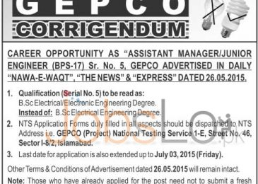 WAPDA GEPCO NTS Jobs 2015 for Assistant Manager / Junior Engineer