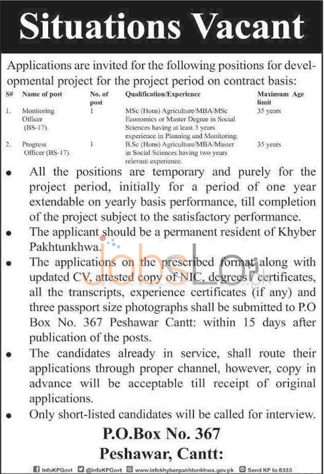 Government of KPK Jobs 2015 Peshawar for Monitoring & Progress Officer