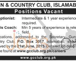 Gun & Country Club Islamabad Jobs 2015 for Tennis Coach & Receptionist