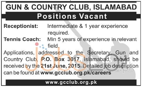 Gun & Country Clib Islamabad Jobs