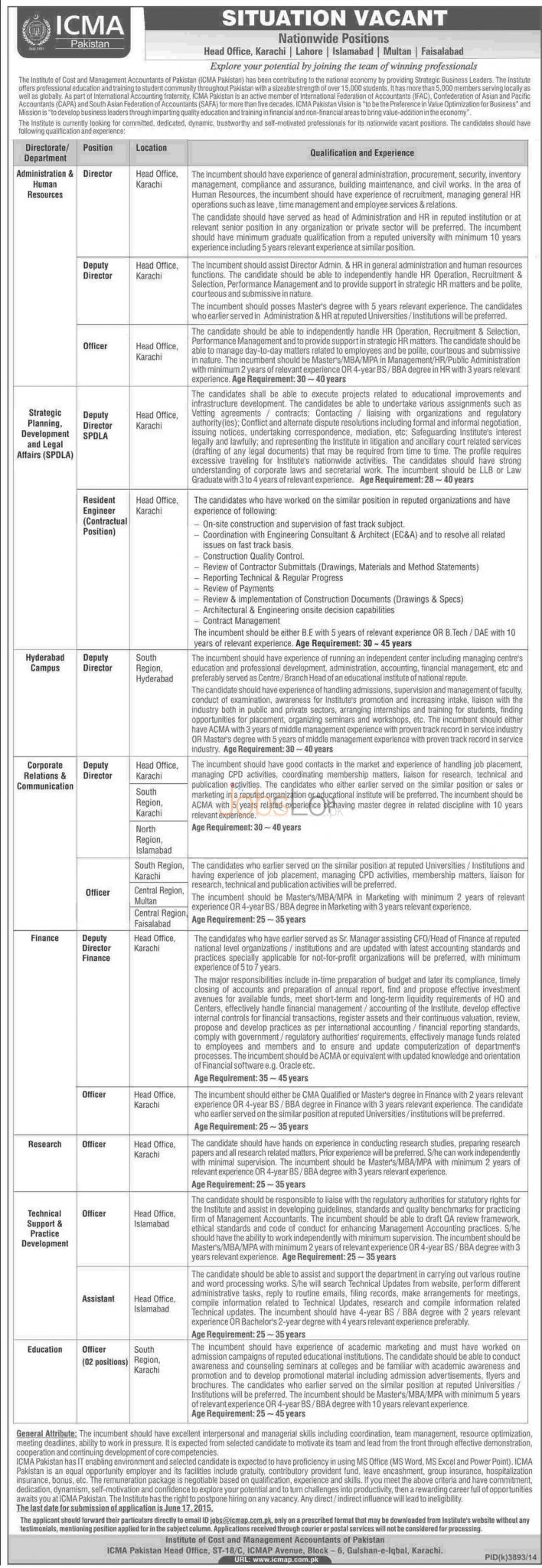 Institute of Cost and Management Accountants ICMA Pakistan Jobs 2015