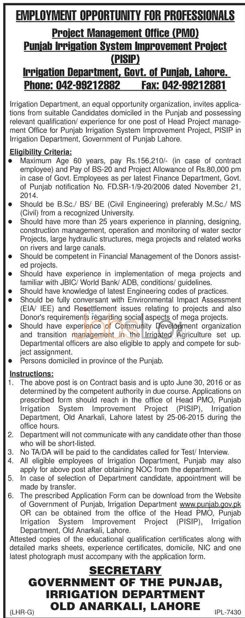 Irrigation Department Punjab Jobs