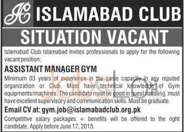 Islamabad Club Pakistan New Jobs 2015 Latest Advertisement