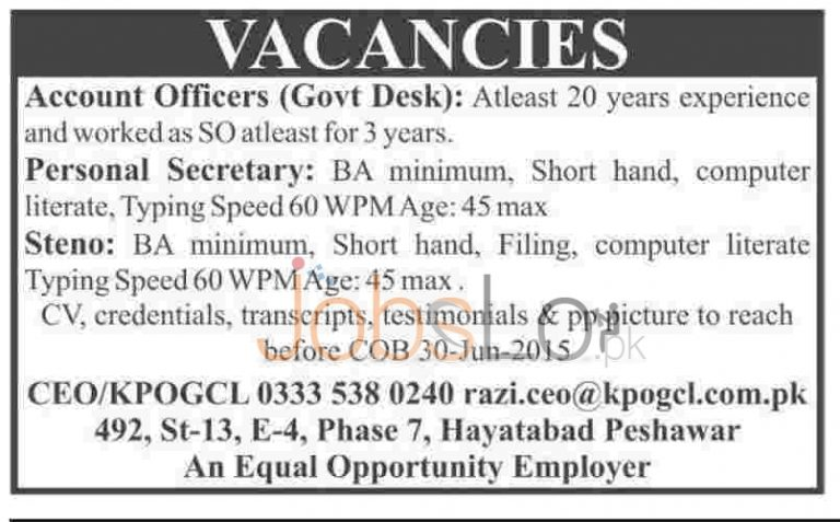 KPOGCl Jobs 2015 for Accounts Officer & Personal Secretary