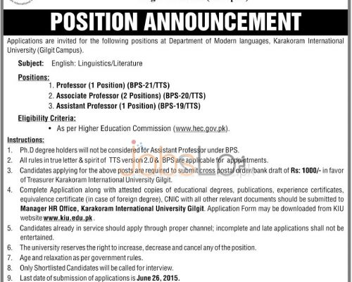Karakoram International University Jobs
