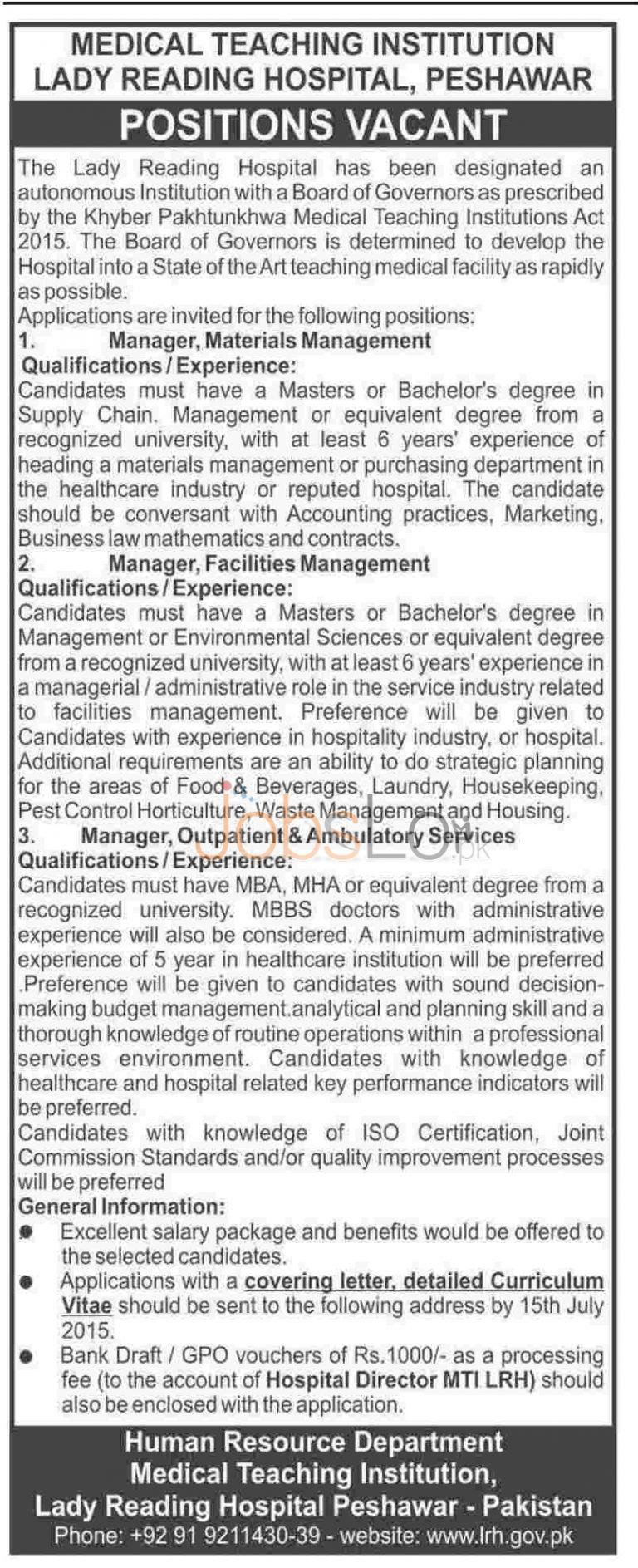 Lady Reading Hospital Peshawar Jobs 2015 June 30 Advertisement