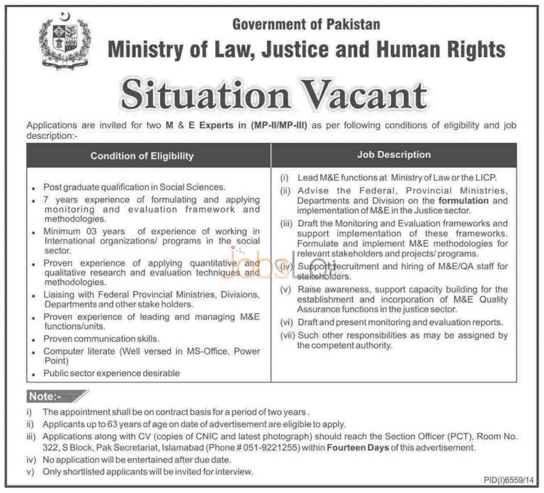 Ministry of Law Justice & Human Rights MOLAW Jobs 2015 Islamabad Pakistan