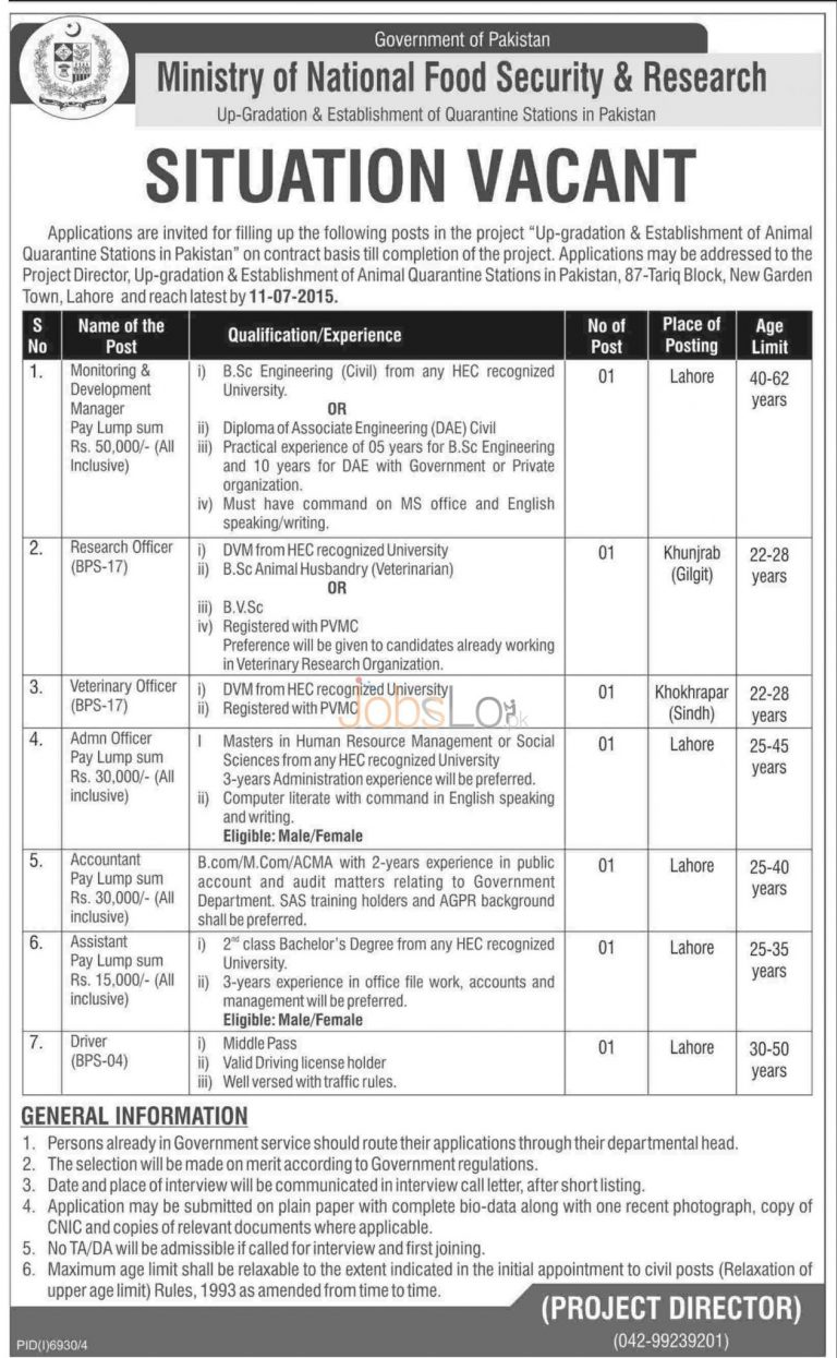 Ministry of National Food Security & Research Jobs 2015 June Advertisement